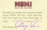1190 San Juan WBMJ QSL Card